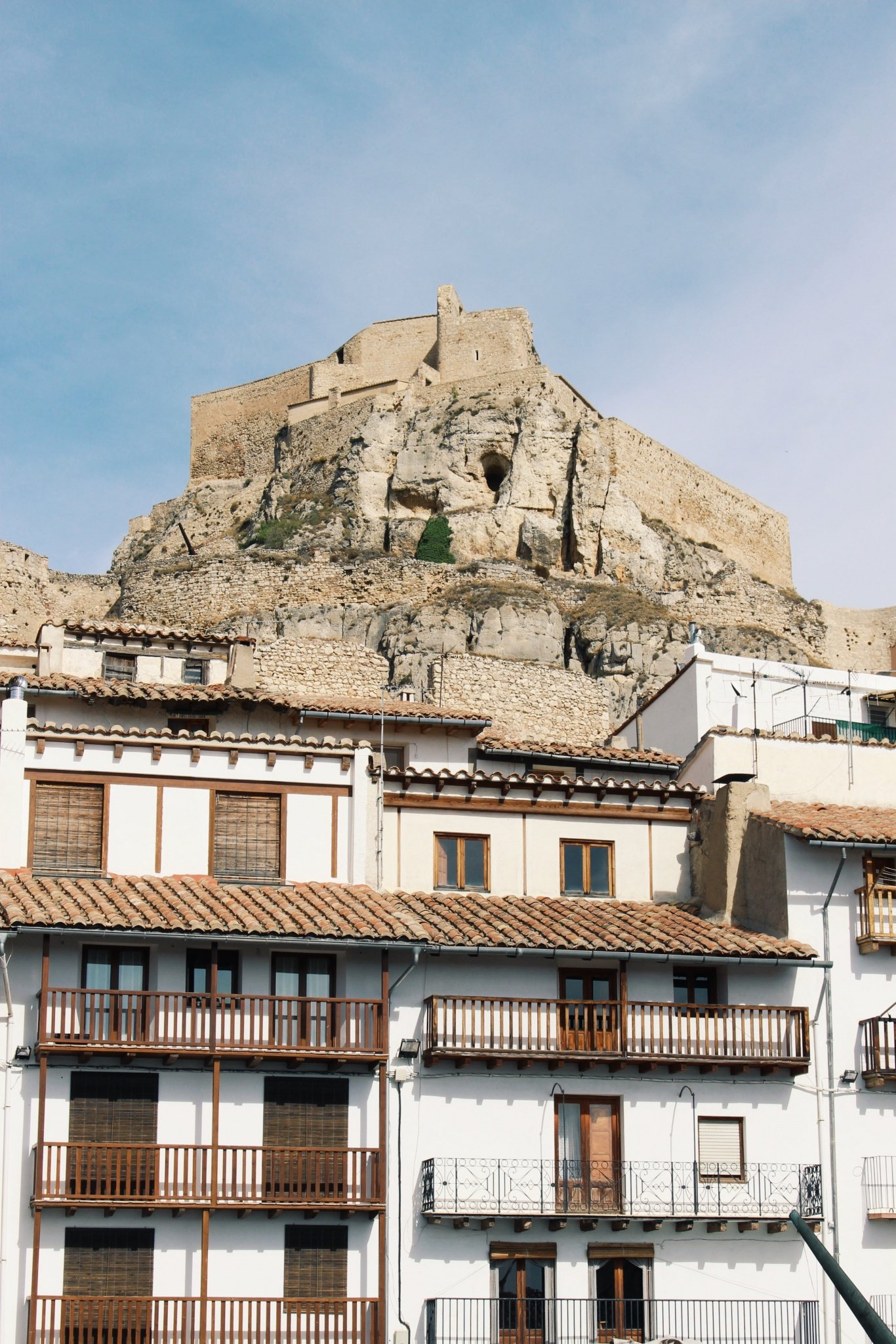 The Castle and the local white houses in Morella, Spain