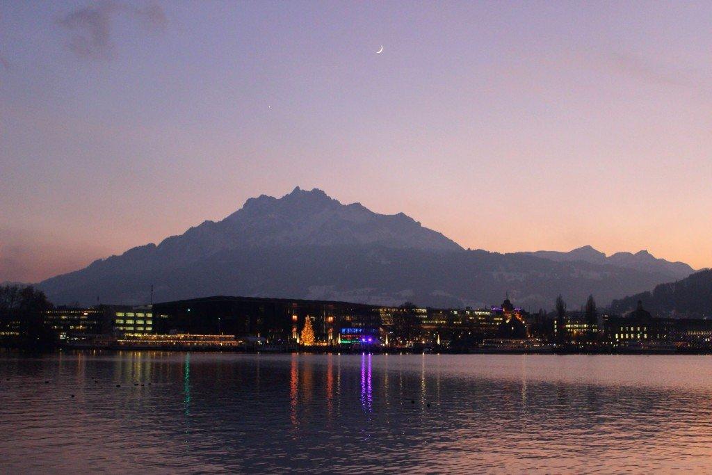 purple sunset at Lucerne Lake, Switzerland