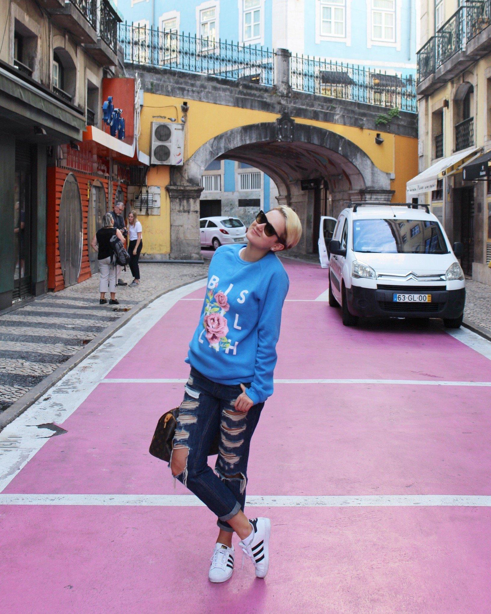 Pink Street in Lisbon, Porugal