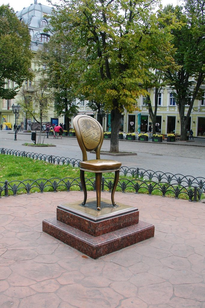 "The monument to the Twelfth Chair ( ""The Twelve Chairs"" is a classic satirical novel by the Odessan authors Ilf and Petrov, released in 1928 and very famous in the former Soviet countries)"