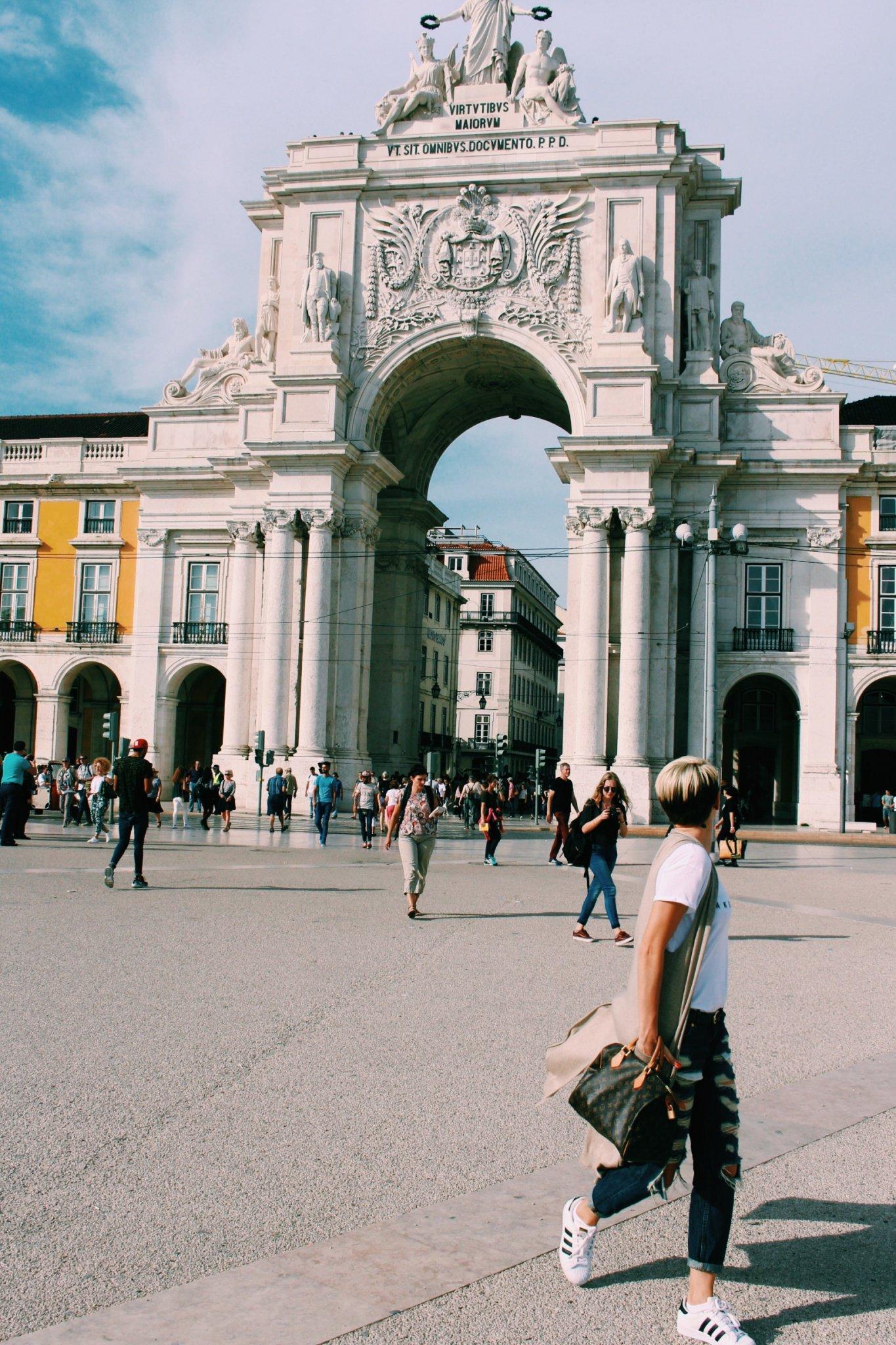 Rua Augusta Arch at Plaza do Comercio in Lisbon, Portugal
