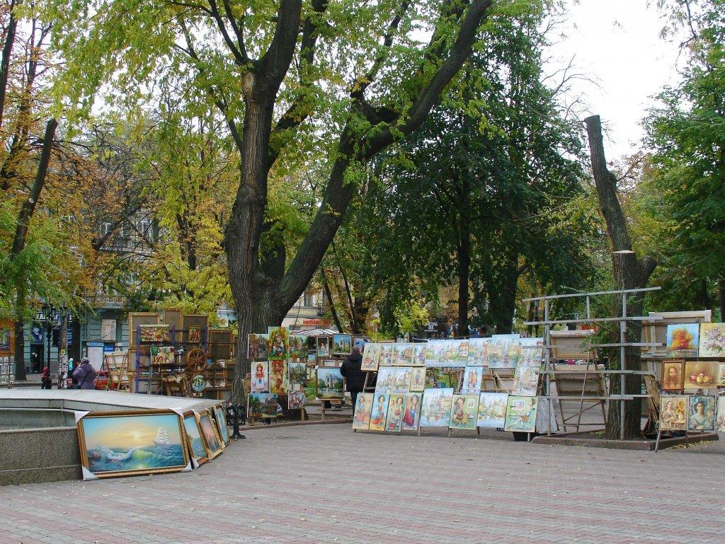 A local artisan art market at Sobornaya square, Odessa