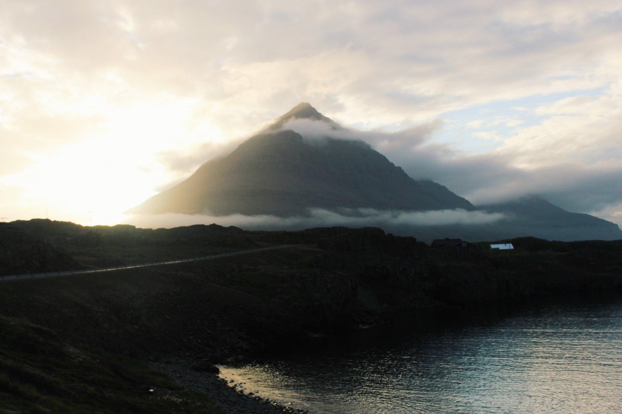 Sunset near East Fjords, Iceland