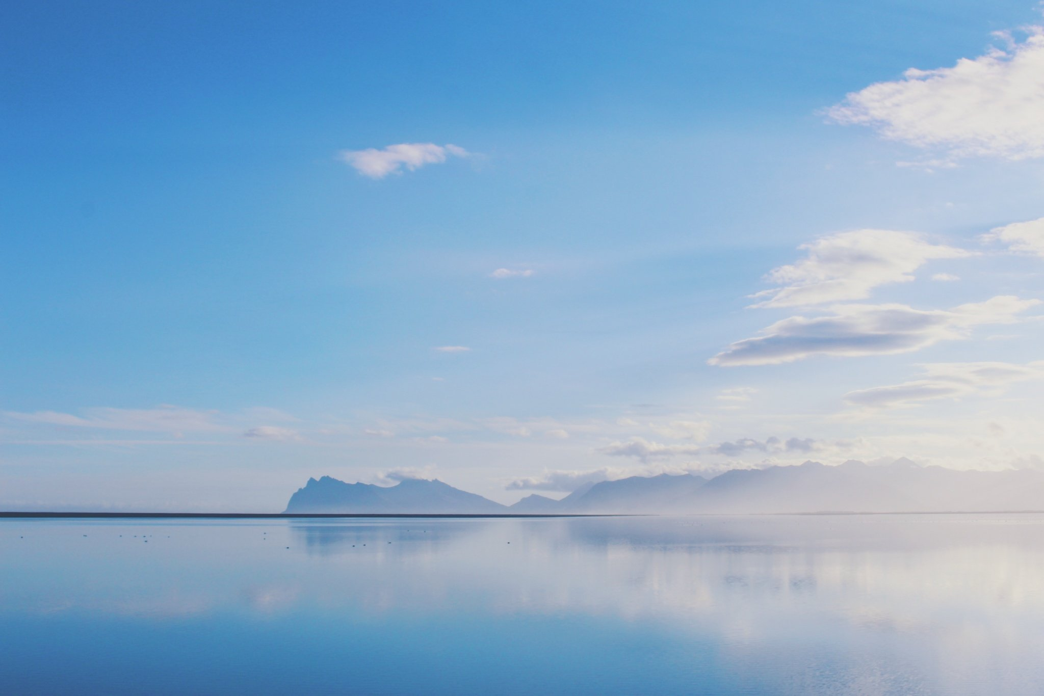 Beautiful water reflection near East Fjords in Iceland