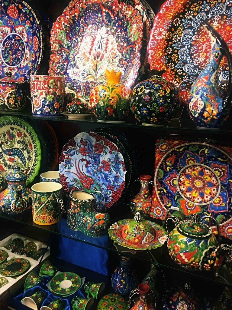 Colorful pottery at Souq Waqif bazaar in Doha, Qatar