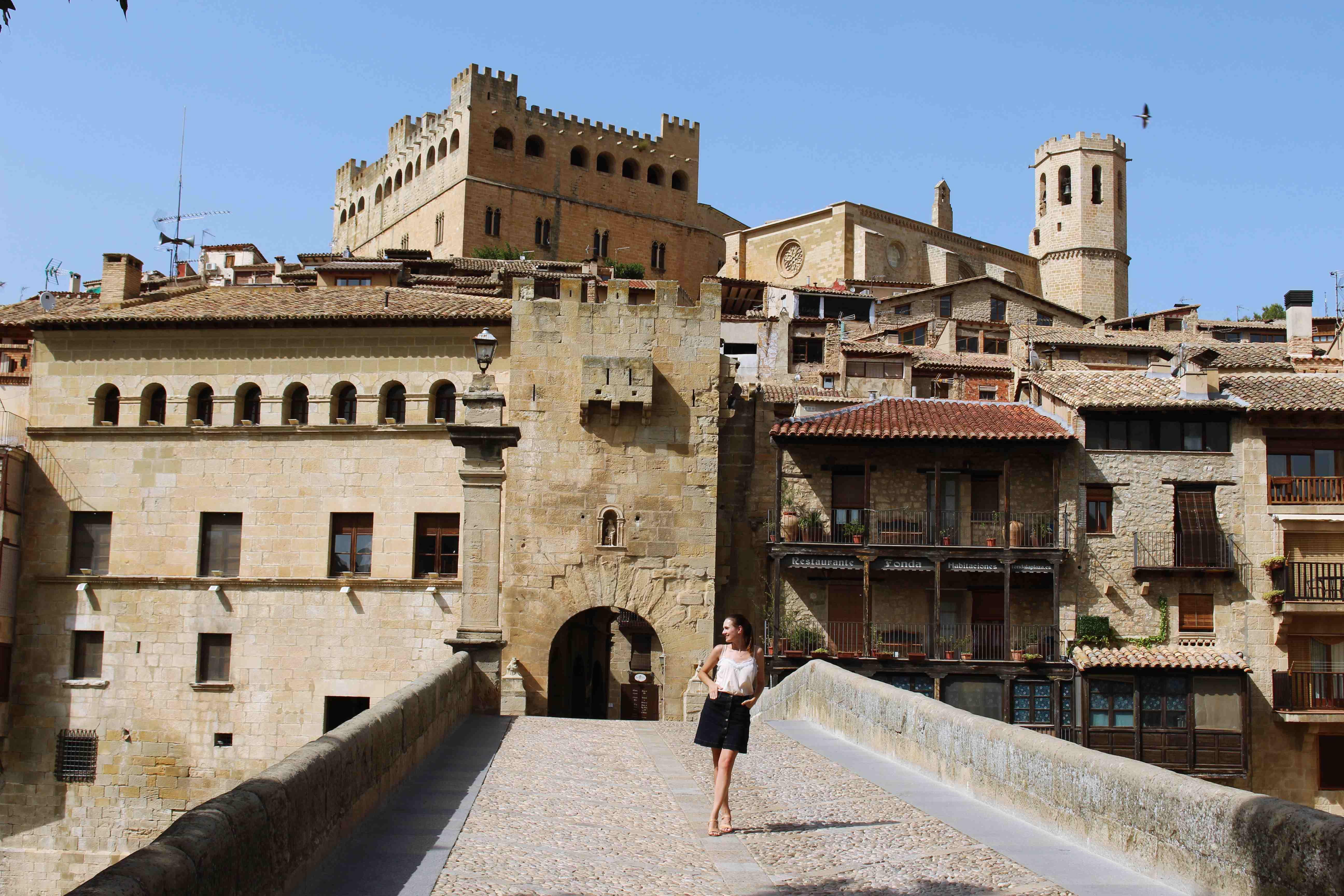 Puente de Piedra and Gate of San Roque in Valderrobres, Teruel, Spain