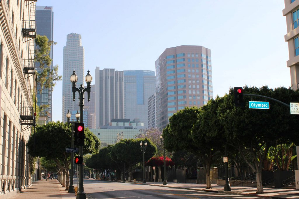 Street view and skyscrapers at Downtown LA