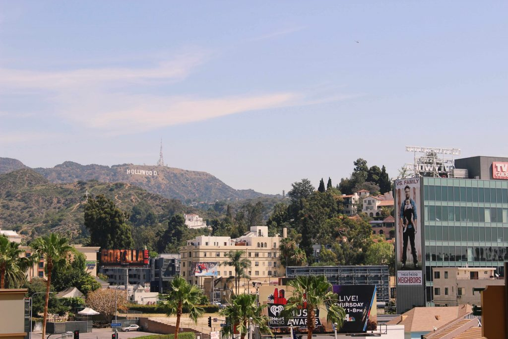 Views of the Hollywood sign in Los Angeles
