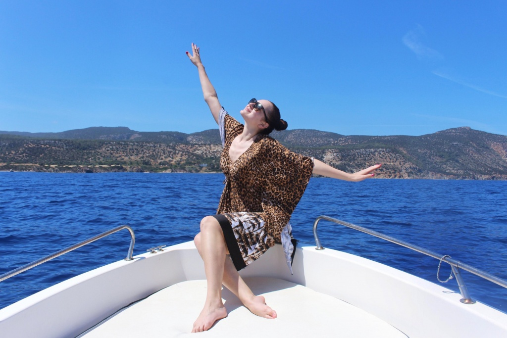 Sailing the Mediterranean on the boat in Paphos, Cyprus