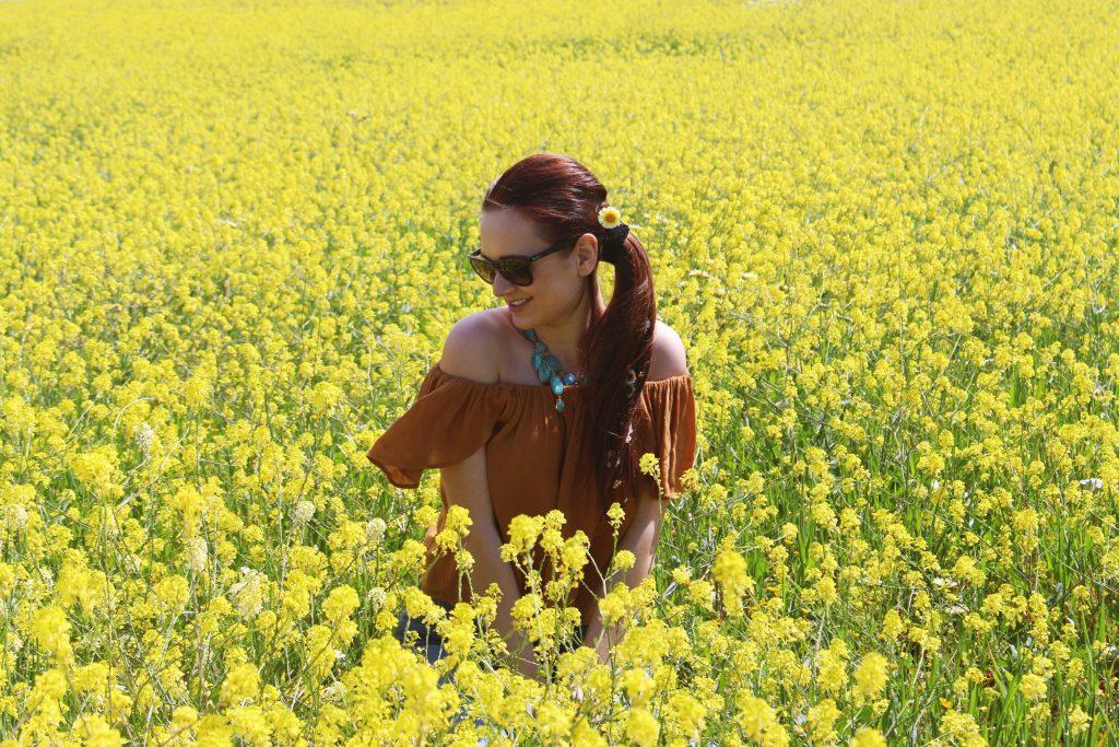Yellow Rapeseed Fields in Ibiza, Spain